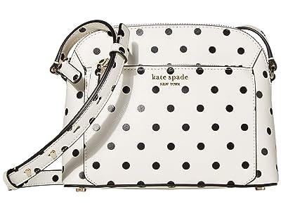 Kate Spade New York Louise Cabana Dot Medium Dome Crossbody (Optic White Multi) Handbags