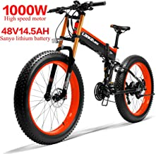 LANKELEISI 750PLUS 48V14.5AH 1000W Motor Bicicleta eléctrica con Todas Las Funciones 26''4.0 Ebike Bicicleta de montaña de Nieve de 27 velocidades Plegable Bicicleta Adulta Mujer/Hombre
