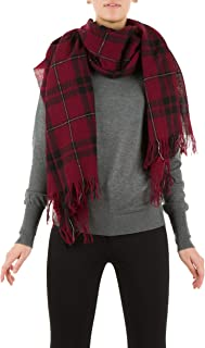 Fine Soft Checked Pattern Stole in Cashmere and Merino Blend with Lurex Details - 100% Made in Italy