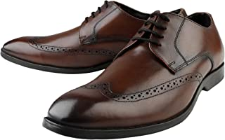 Kanprom Men's Brown Genuine Leather Formal Derby Lace-Up Brogue Shoes