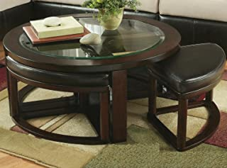 Roundhill Furniture Cylina Solid Wood Glass Top Round Coffee Table with 4 Stools