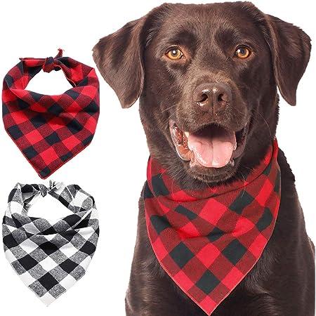 Personalized Plaid Dog Bandana  Buffalo Check Cat Scarf  Over the Collar