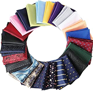 24 Pieces Mens Pocket Squares Mens Handkerchief Soft Colored Men Assorted Hankies for Wedding Party