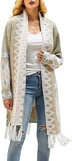 YeMgSiP Women's Boho Cardigan Open Front Long Tassel Hem Sweaters Aztec Tribe Spring Summer Thin Coat