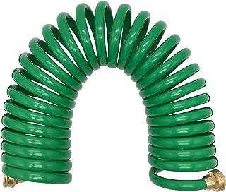 Lhfacc Spring Hose Recoil Garden Hose Heavy Duty EVA Recoil Hose 3/8 Inches Green, 1 Pack (25 Feet)