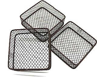 CVHOMEDECO. Lot de 3 mini paniers de rangement en fil de métal pour bureau et étagères, idéal pour ranger des épices, des ...