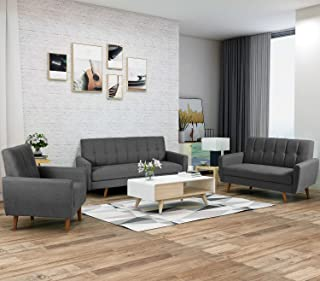 Harper & Bright Designs Living Room 3 Piece Sofa Couch Set,3 Seats Loveseat Single Chair Sectional Sofa Set, Gray