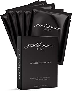 Gentlehomme Advanced Collagen Face Mask for Men (Sheet), Micro-Engineered Marine Collagen and Liposomal Delivery Absorption Enhancer, Anti-Aging, Moisturizing, Hydrating, All Skin Types, 5 Masks