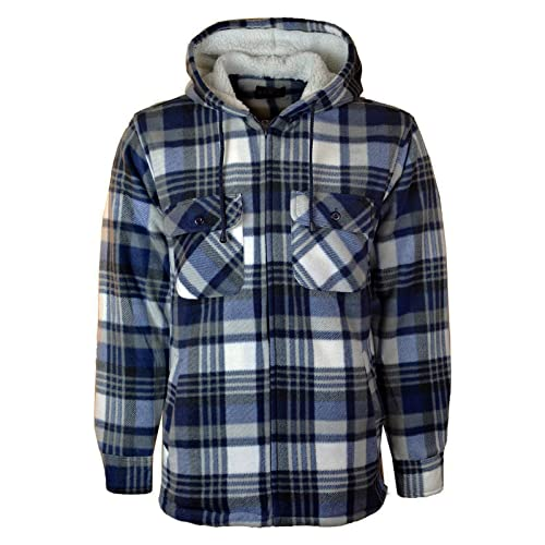 00f5ba7fbc Myshoestore Mens Padded Check Shirt Sherpa Fur Lined Lumberjack Collared  Flannel Quilted Work Jacket Warm Thick
