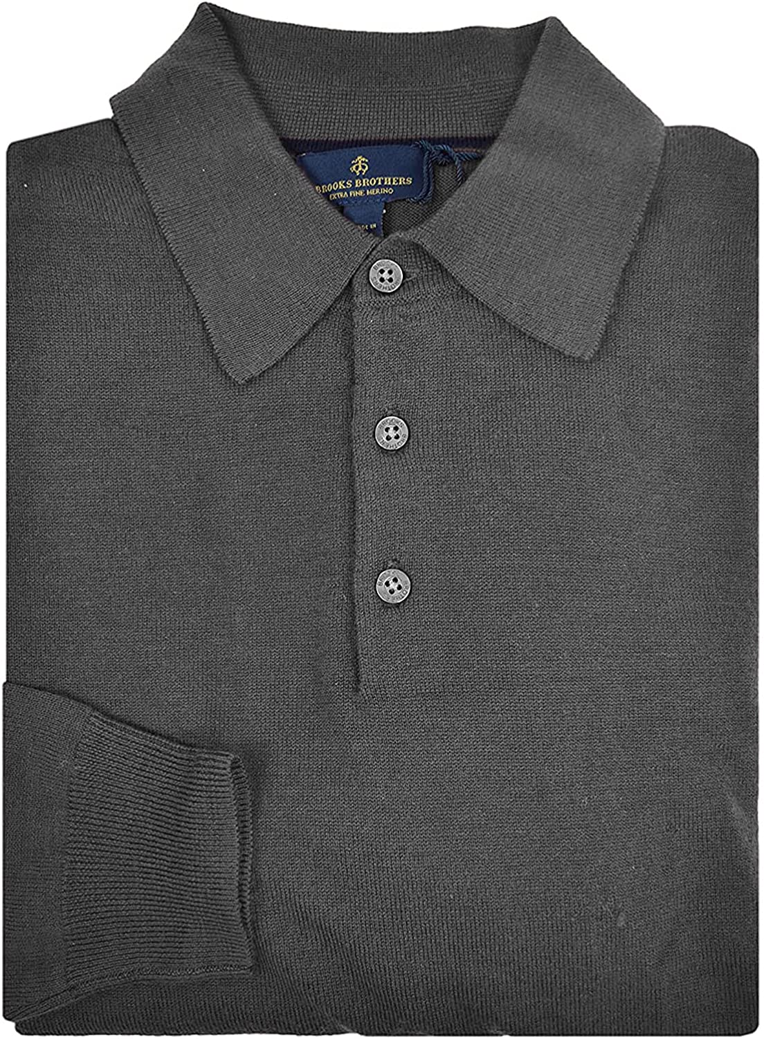 Brooks Max 49% OFF Brothers Men's Extra Fine Challenge the lowest price of Japan Merino Wool Three Polo Button S
