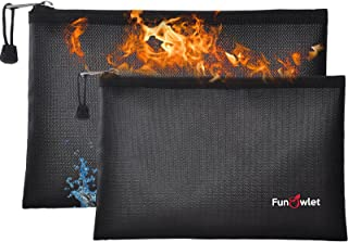 """Fireproof Safe Money Document Bags - 2 Pack 13.4"""" x 9.8"""" and 10.6"""" x 6.7"""" Waterproof Zipper Bag, Fire & Water Resistant St..."""