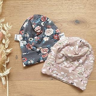 Sharlene Babymode Sommer Beanie 2er Set - Grau Blumen und Beige Flieder Blätter - Baby Mädchen Sommer