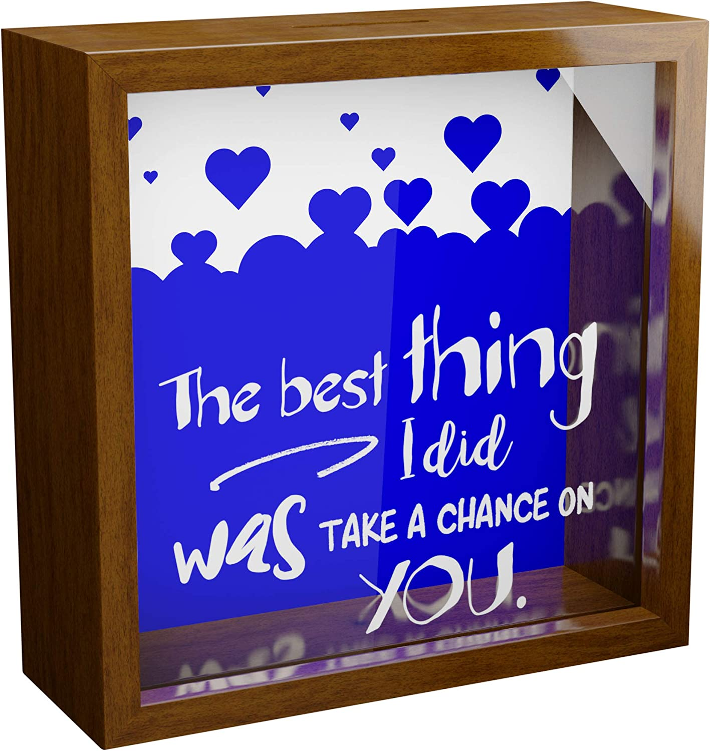 Made With Tone Daily price bargain sale Newlywed Couple Shado Gifts 6x6x2 Glass Wooden
