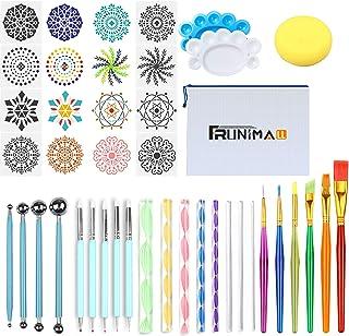 Kit Mandala Peinture, Outils Mandala Peinture Pochoir Kits pour Brosses Rochers avec Plateau de Peinture pour Enfants Colo...
