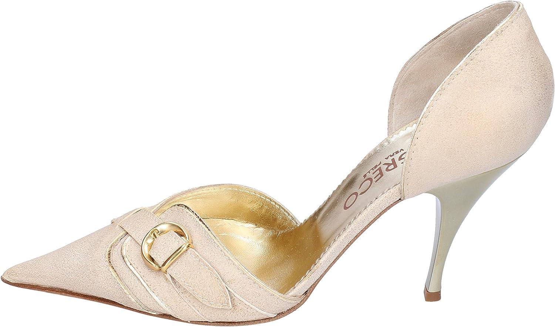 IL GRECO Pumps-shoes Womens Suede Beige 6 US