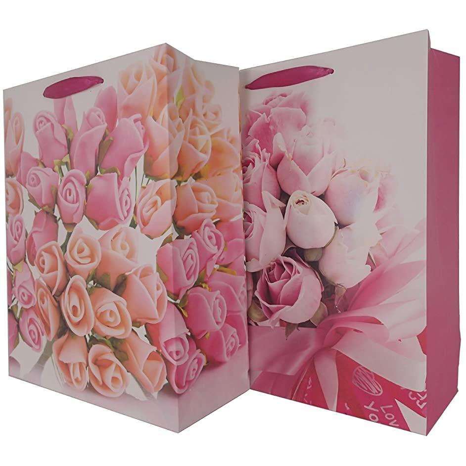 LARUX Gift Bag for Birthday Anniversary Mother's Day with Tissue Paper Greeting Card Envelop Dot Sticker Long Lasting Medium Size Set of 2 (Rose Bouquet)