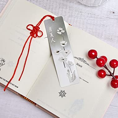 8 Pieces Hollow Metal Bookmarks Stainless Steel Bookmarks with Red Knot Theme Series Bookmarks Set for Book Reading Christmas