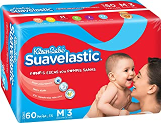 KleenBebé Suavelastic, Pañal Unisex, Mediano, 60 Piezas
