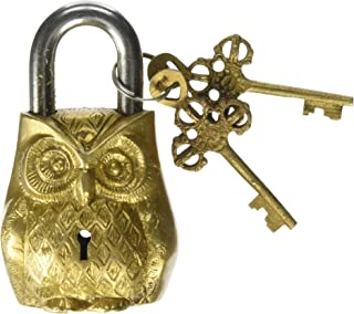 Owl Design Yellow Functional Brass Lock with 2 Keys