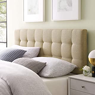 Modway Lily Tufted Linen Fabric Upholstered King Headboard in Beige
