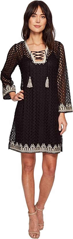 Hale Bob - Line in the Sand Knit Crochet Lace-Up Dress