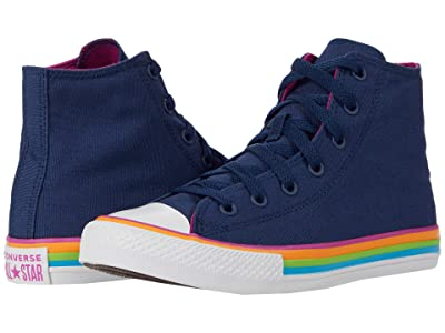 Converse Kids Chuck Taylor(r) All Star(r) Hi (Little Kid/Big Kid) (Navy/Cactus Flower/White) Girl