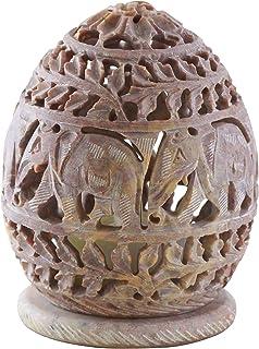 SouvNear Candle Tealight Holder with Hand Carved Elephant & Tendrils - Votive Holders - Soapstone Elephant Figurines - Dec...