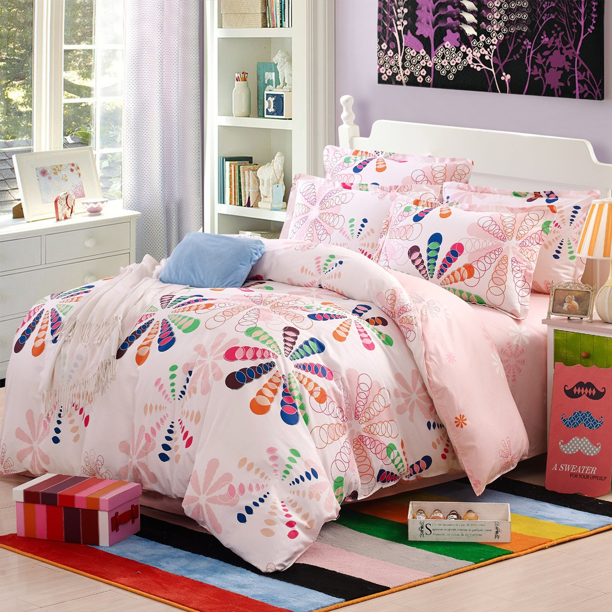 YOTA Xingyueウサギ綿ツイルプリント4ピース高層高密度ABバージョンデザイン1.5 / 1.8 mベッド(200 * 230 cm)7色花