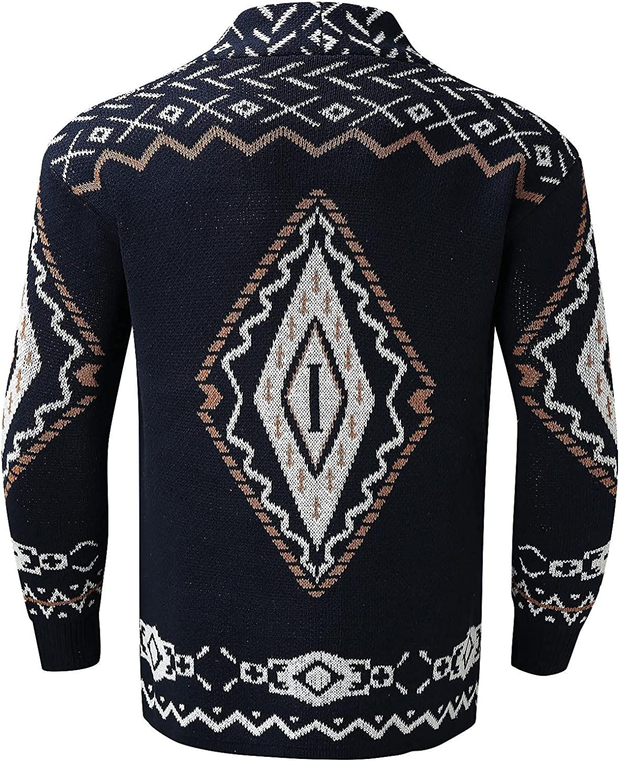 Huangse Shawl Collar Long Cape for Men Vintage Argyle Print Sweaters Wool Blend Trench Coat Knitted Cardigan