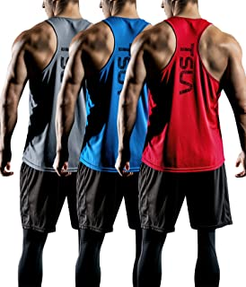 Tesla Men's (Pack of 1, 3) Workout Muscle Tank Sleeveless Y-Back Gym Training Cool Dry Top