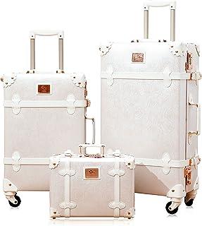 "urecity vintage luggage sets of 3 piece, 26""+20""+12"" (Rose White)"
