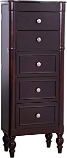 Hives and Honey Iris Jewelry Cabinet Armoire Box Storage Chest Stand Organizer Necklace Holder, 14″ W x 9″ D x 36″ H, Espresso