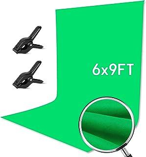 GloShooting Fotohintergrund, 100 % Baumwolle, wiederverwendbar, mit Musselin Klemme, 1,8 x 2,7 m, Grün