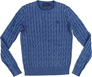 POLO RALPH LAUREN Womens Cable Knit Crew Neck Sweater (X-Large, Polo Blue)