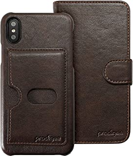 "Prodigee [Wallegee] Brown for iPhone 8 (2017) - iPhone 7 (2016) & iPhone 6/ 6s (4.7"") Leather Wallet Credit Card Holder ID Slot Case Flip Folio Book 2-in-1 Cover"
