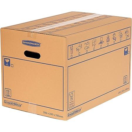 Bankers Box SmoothMove Caisses de Déménagement en Carton Double Epaisseur avec Poignées - 67 litres, 35 x 35 x 55 cm (Lot de 10)