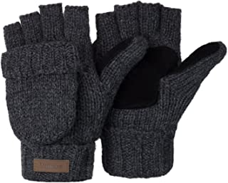 Winter Knitted Fingerless Gloves Convertible Wool Mittens...