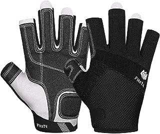 FitsT4 Sailing Gloves 3/4 Finger Padded Palm - Mesh Back for Comfort - Perfect for Sailing, Paddling, Canoeing, Kayaking, SUP for Men Women & Kids