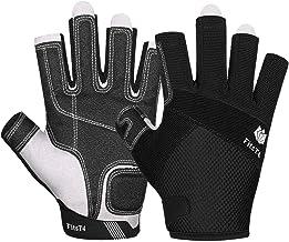 FitsT4 Kayaking Gloves 3/4 Finger Padded Palm - Mesh Back for Comfort - Perfect for Sailing, Paddling, Canoeing, Kayaking, SUP for Men Women & Kids