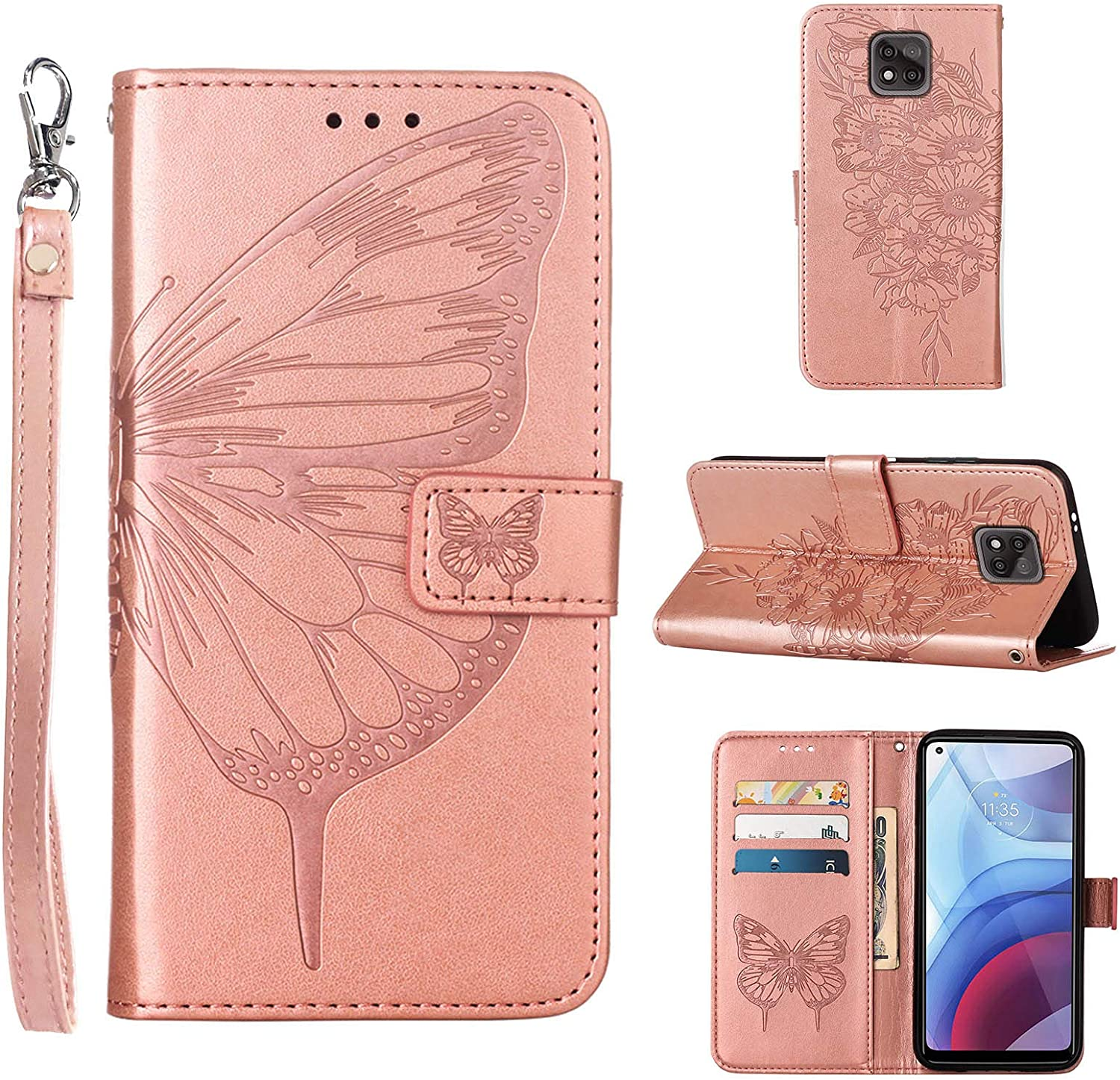 Compatible for Moto G Power 2021 Case Wallet,[Kickstand][Wrist Strap][Card Holder Slots] Butterfly Floral Embossed PU Leather Flip Protective Cover for Moto G Power (2021) Case (Rose Gold)