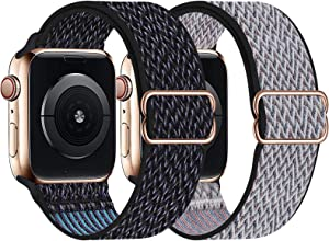 UHKZ 2 Pack Stretchy Solo Loop Compatible with Apple Watch Bands 38mm 40mm 42mm 44mm,Adjustable Braided Sport Elastic Nylon Wristband for iWatch Series 6/SE/5/4/3/2/1,Hyper Grape/Royal Pulse,38/40mm