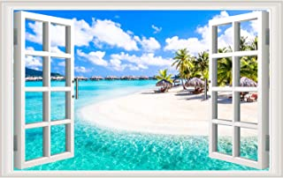 3D Beach Seascape Fake Windows Wall Stickers Removable Faux Windows Wall Decal Landscape Wall Decor for Livingroom Bedroom (Beach Seascape)