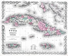 Historic Map - 1869 Cuba, Jamaica and Puerto Rico. - Vintage Wall Art - 44in x 37in