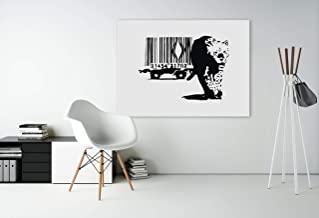 Banksy Leopard Barcode Art Canvas - Muur ingelijst Graffiti Schilderij Print - Bansky Tiger Skin Grafitti Decor Gift - Ban...