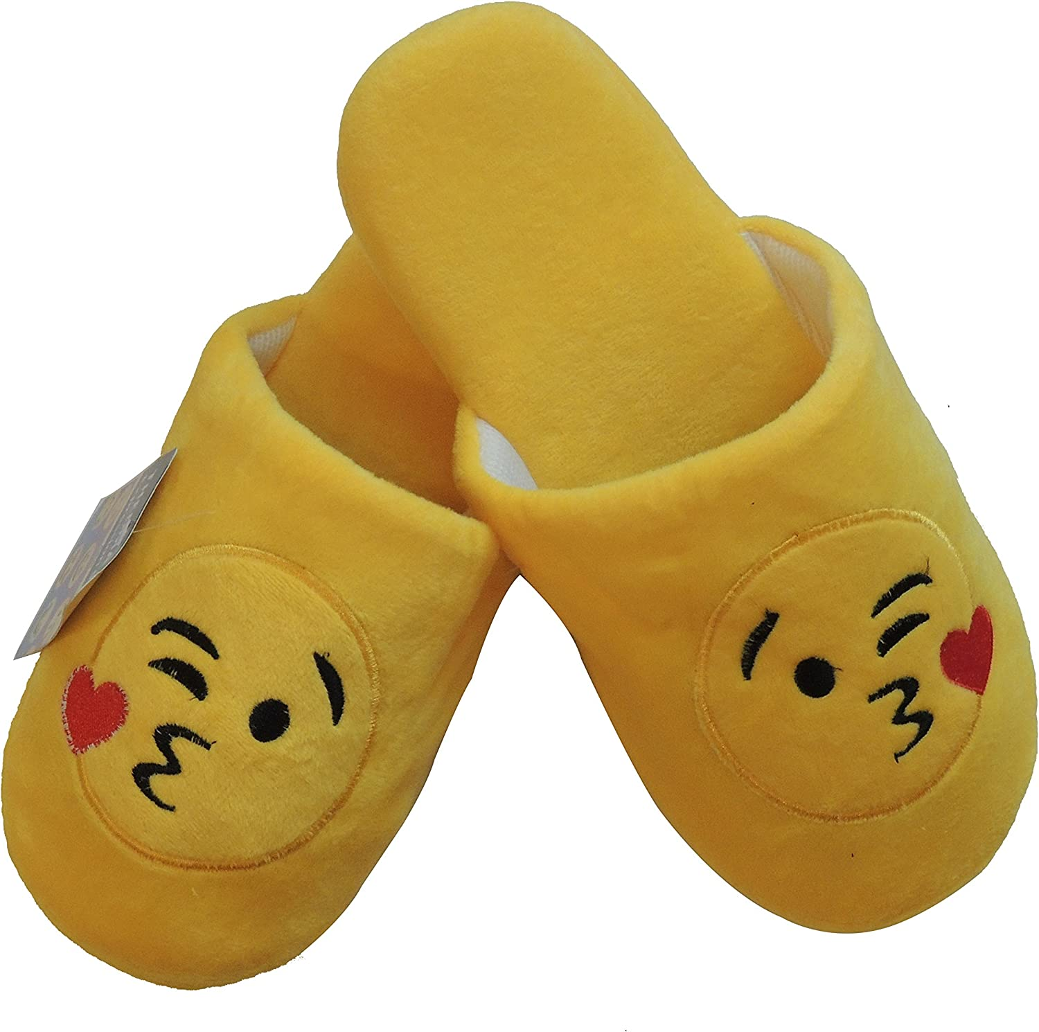 ThermaX Emoji Slippers - Plush, Warm, Non-Skid, Unisex, Bonus Emoji Pen Great Gift