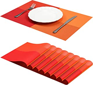 Jujin Placemats Set of 8 Non-Slip Washable PVC Heat Resistant Table Mats for Dining Table Orange