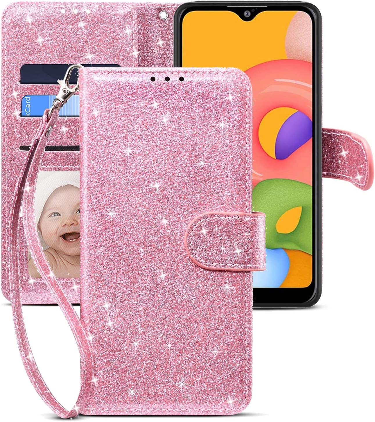 CHICASE Case for Galaxy A01,Samsung A01 Case,Folding Flip Glitter Bling Cute Leather Wallet Shockproof Protective Case with Kickstand Card Slots Wrist Strap Magnetic for Samsung Galaxy A01 (Pink)