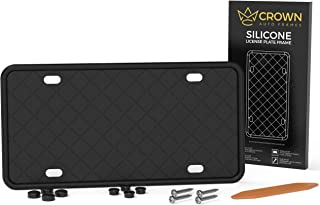 Crown Auto Frames License Plate Holder - Slim Silicone License Plate Frame with Screws and Caps, Front or Rear 1 Pack, Black