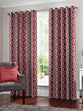 Story at Home Window Curtain, Grey/Maroon, 118 x 152 cm, WNR4034, 2 Pieces