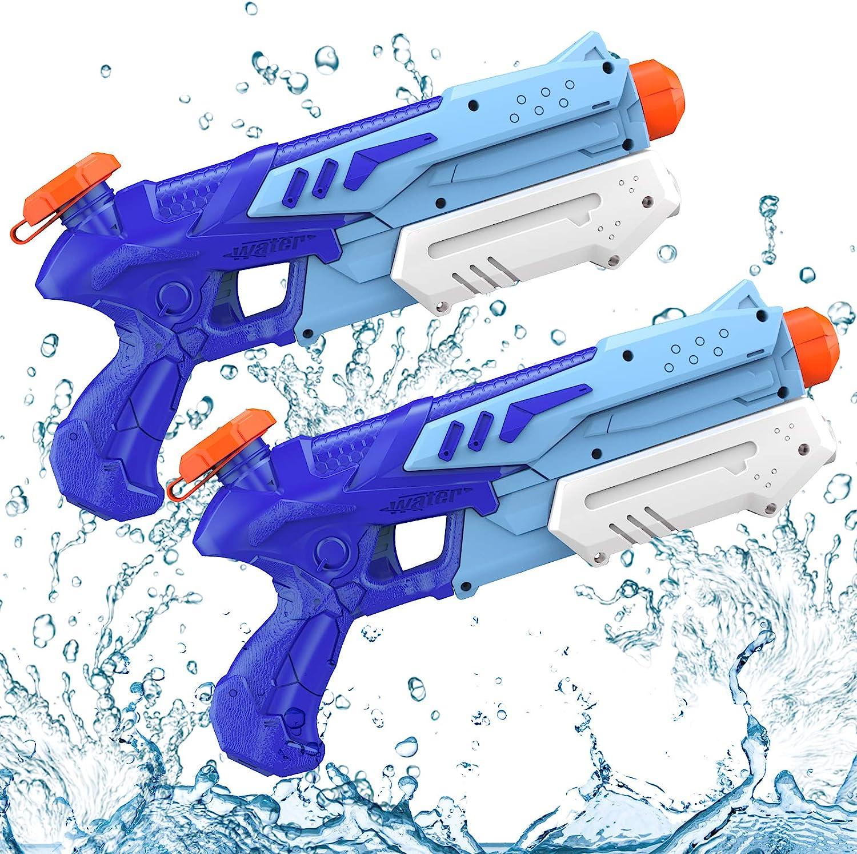 Kiztoys 1 Pistola de Agua, 2 Pack 600ML Pistolas de Agua para Niños Niñas, Potente Chorro de Agua con un Alcance Largo 8m-10m, Water Pistol Gun para Batalla de Agua